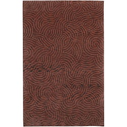 Hand-knotted Abstract Design Wool Rug (5' x 8')