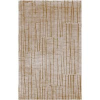 Hand-knotted Beige Abstract Design Wool Area Rug - 4' x 6'