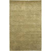 Hand-knotted Olive Royal Abstract Design Wool Area Rug - 2'6 x 10'