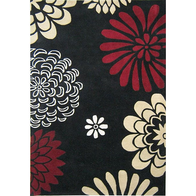 Hand-tufted Giant Flowers Black Wool Rug (5' x 8')