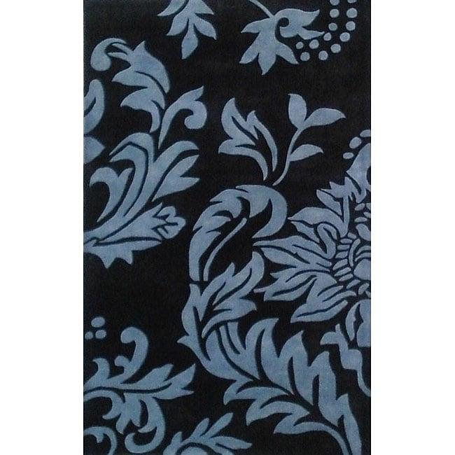 Alliyah Handmade Quill Feather Black New Zealand Blend Wool Rug (5' x 8')