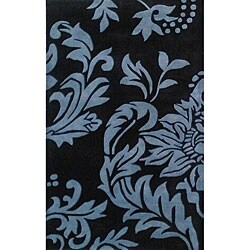 Alliyah Handmade Quill Feather Black New Zealand Blend Wool Rug (5' x 8')