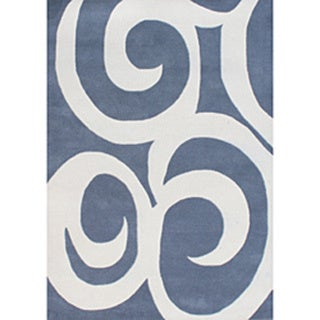 Alliyah Handmade Blue New Zealand Blend Wool Rug - 8' x 10'