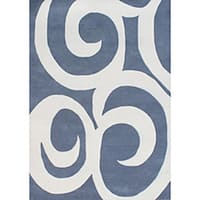 Alliyah Handmade Blue New Zealand Blend Wool Rug (8' x 10') - 8' x 10'