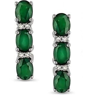 Miadora 10k White Gold Created Emerald and Diamond Earrings