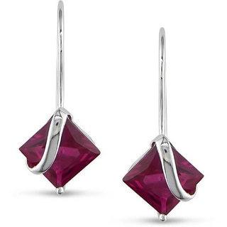 Miadora 10k White Gold 4-1/10ct Created Ruby Earrings