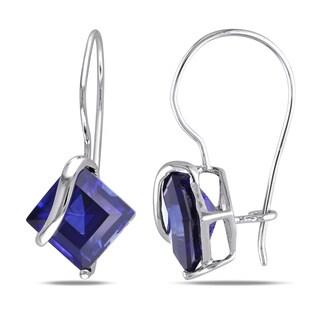 Miadora 10k Gold Created Sapphire Swirl Earrings