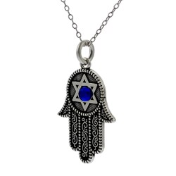 Journee Collection  Sterling Silver Blue Cubic Zirconia Hamsa Necklace