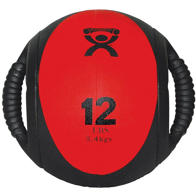 Cando 12-pound Dual-handle Red Medicine Ball