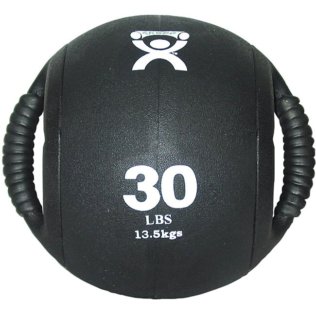 Cando 30-pound Dual-handle Black Medicine Ball - Thumbnail 0