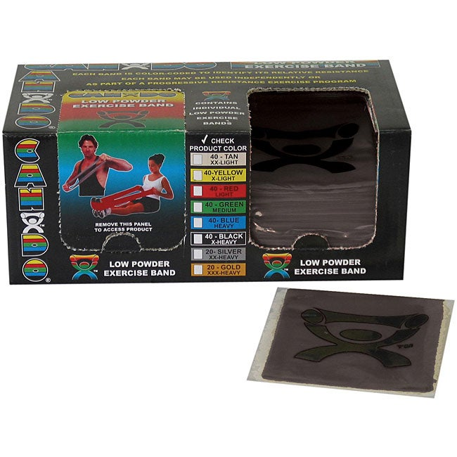Cando Black Latex 4-foot Strip Exercise Bands (Pack of 40)