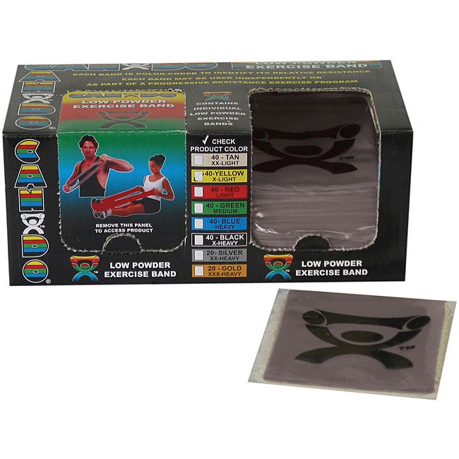 Cando Silver Latex 4-foot Strip Exercise Bands (Pack of 40)