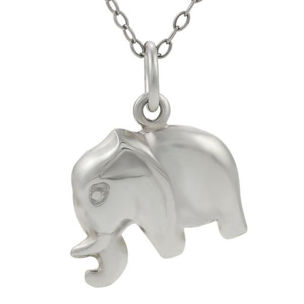 Journee Collection  Sterling Silver Elephant Necklace