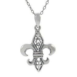 Journee Collection  Sterling Silver Small Fleur de Lis Necklace