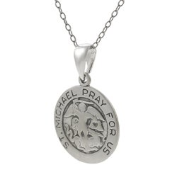 Journee Sterling Silver 'St. Michael Pray For Us' Necklace - Thumbnail 1