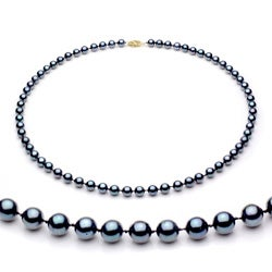 DaVonna 14k Gold Black Akoya Pearl High Luster 16-inch Necklace (6.5-7 mm)