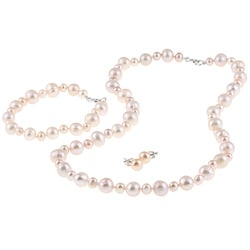 DaVonna Silver Pink FW Pearl Necklace Bracelet and Earring Set (4-8 mm)