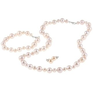 DaVonna Sterling Silver Pink Freshwater Pearl Necklace Bracelet and Earring Set (4-8 mm)