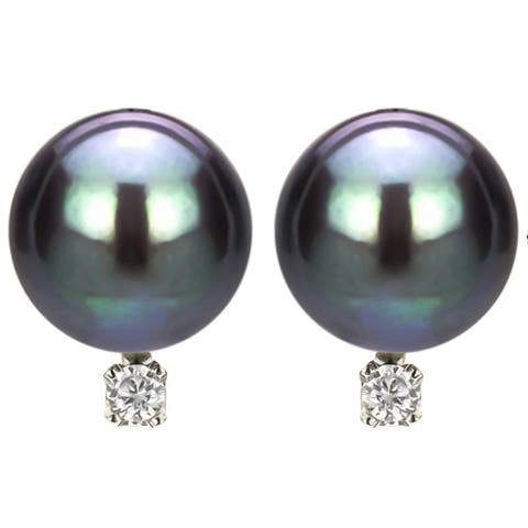 DaVonna 14k White Gold 8-9 mm Tahitian Pearl and Diamond Earrings - Black