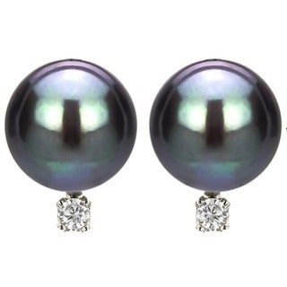 DaVonna 14k White Gold 8-9 mm Tahitian Pearl and Diamond Earrings - Black