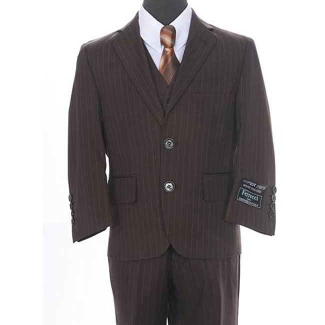 Ferrecci Big Boy's Chocolate Brown 3-piece Suit
