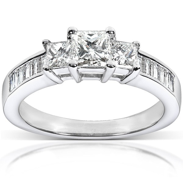 Annello 14k White Gold 1ct TDW Princess Diamond Ring (H-I, I1-I2)