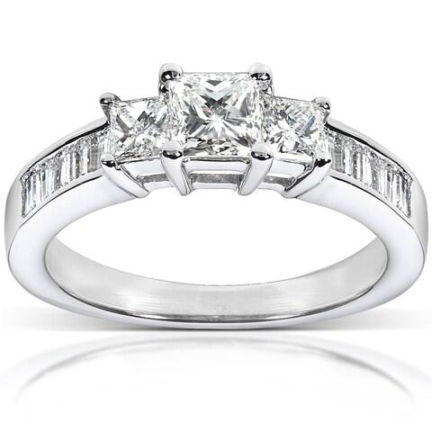 Annello 14k White Gold 1ct TDW Princess Diamond Ring