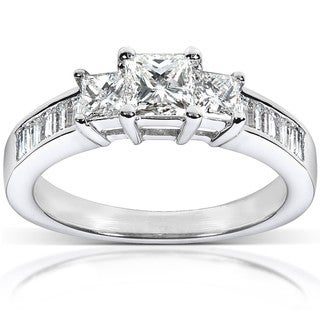 Annello 14k White Gold 1ct TDW Princess Diamond Ring