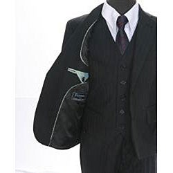 Ferrecci Boy's Shadow Stripe Black 3-piece Suit - Thumbnail 1