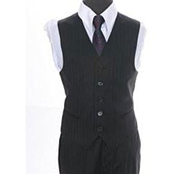 Ferrecci Boy's Shadow Stripe Black 3-piece Suit - Thumbnail 2