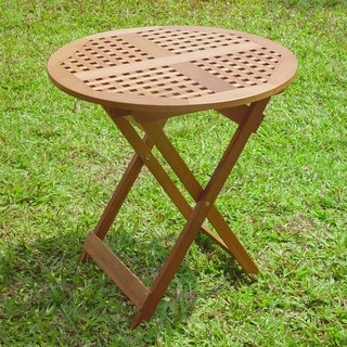 International Caravan Acaia Hardwood 28-inch Round Checkerboard Folding Table