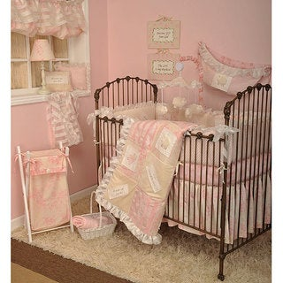 cotton tale girls 4piece pink crib bedding set in heaven sent