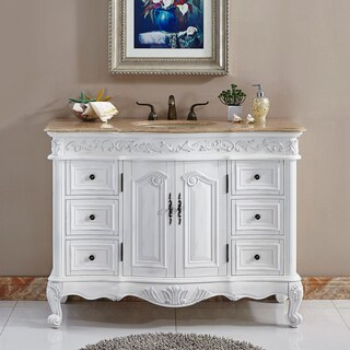 Silkroad Exclusive Upland Bathroom Single Sink Vanity (Option: Ivory - Off-White Finish)