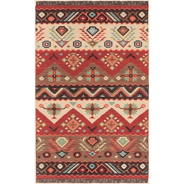 Shop Hand Woven Red Tan Southwestern Aztec Santa Fe Wool Flatweave