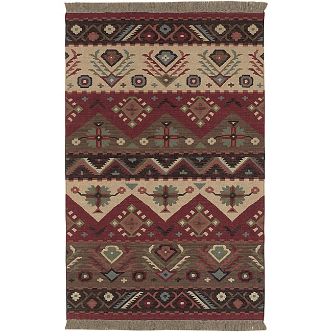 hand woven red tan southwestern aztec santa fe wool flatweave area rug 3 39 6 x 5 39 6 free. Black Bedroom Furniture Sets. Home Design Ideas
