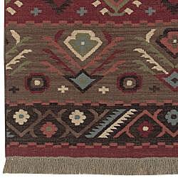 ... Hand Woven Red/Tan Southwestern Aztec Santa Fe Wool Flatweave Rug (3u0026#
