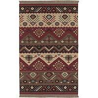 Hand-woven Red/Tan Southwestern Aztec Santa Fe Wool Flatweave Area Rug (3'6 x 5'6)