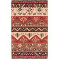 Hand-woven Red/Tan Southwestern Aztec Santa Fe Wool Flatweave Area Rug - 3'6 x 5'6