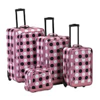 Rockland Deluxe Polka Dot 4-piece Expandable Luggage Set