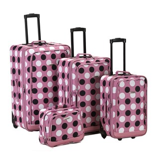 Rockland Deluxe Polka Dot 4-piece Expandable Luggage Set (2 options available)