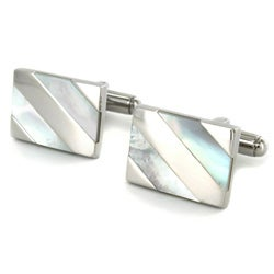 Crucible Men's Stainless Steel and Mother Of Pearl Cuff Links