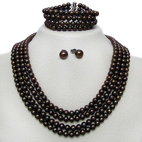 DaVonna Silver 6-7 mm 4-row Freshwater Pearl Necklace Bracelet and Earring Set