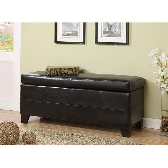 Black Synthetic Leather Storage Bench Free Shipping Today 12410227