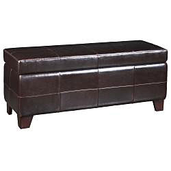 Chocolate Synthetic Leather Storage Bench - Thumbnail 1