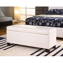 White Synthetic Leather Storage Bench - Thumbnail 1