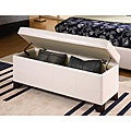 White Synthetic Leather Storage Bench