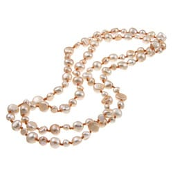 DaVonna Golden Bronze Flat FW Pearl 36-inch Endless Necklace (5-10 mm)