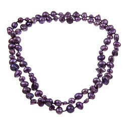 DaVonna Purple Flat FW Pearl 36-inch Endless Necklace (5-10 mm)