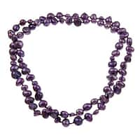 DaVonna 5-10 mm Purple Flat Freshwater Pearl Endless Necklace 36-inch