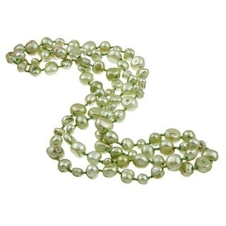 DaVonna Green Flat FW Pearl 36-inch Endless Necklace (5-10 mm)